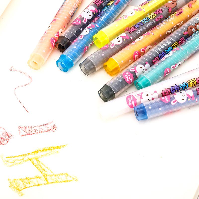 爱好68022盒装旋转油画棒 儿童绘画12 18 24 36色无毒环保 不脏手