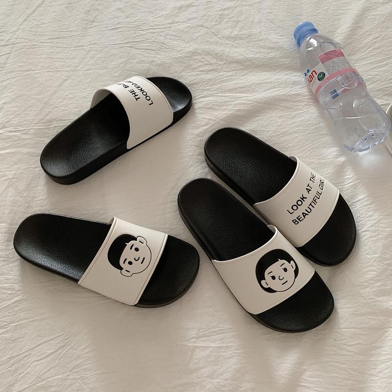 港味风网红情侣沙滩鞋男潮流平底凉鞋 拖鞋女夏外穿防滑  细细条 ins
