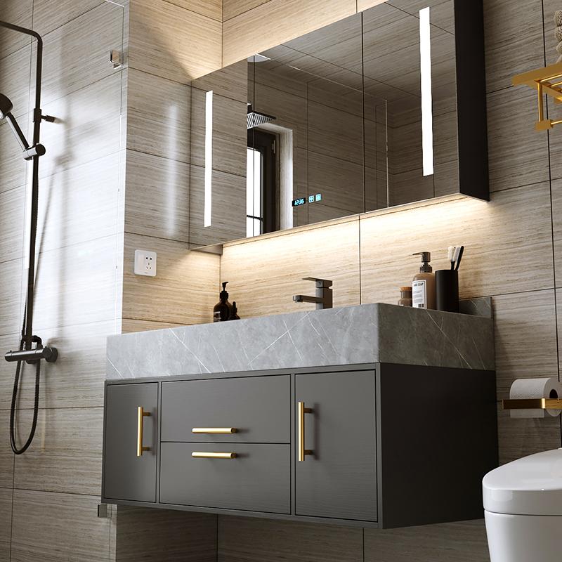 巖板一體盆浴室柜組合現代簡約衛生間洗漱臺洗手臺盆洗臉盆柜組合