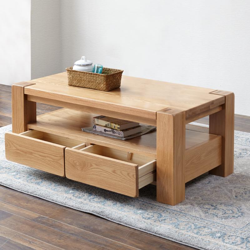 源氏木语实木茶几北欧橡木咖啡桌现代简约小户型客厅家具原木茶桌