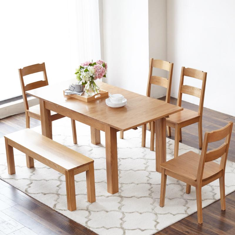 源氏木语纯实木伸缩餐桌橡木折叠餐桌椅组合现代美式北欧简约饭桌
