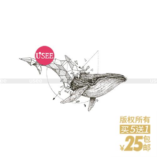 Heyusee原創紋身貼防水 鯨魚藍鯨花臂 黑白持久男女遮瑕貼紙