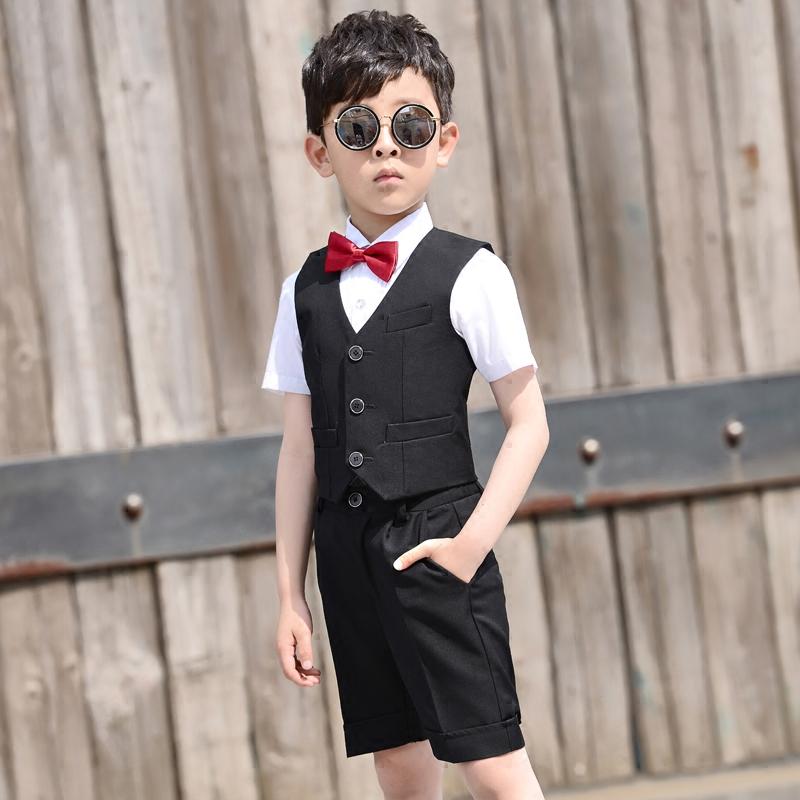儿童钢琴演出礼服男童表演小花童主持人男孩西装马甲套装小西服夏