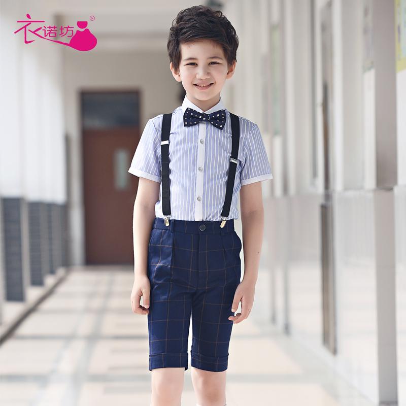 儿童小花童礼服主持人服装男童钢琴演出合唱背带裤男孩表演套装夏