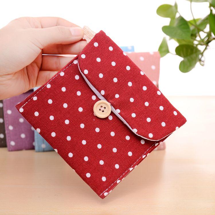 韩国波点棉麻卫生巾收纳包 卫生棉包姨妈巾包 卫生巾包 满9.9包邮