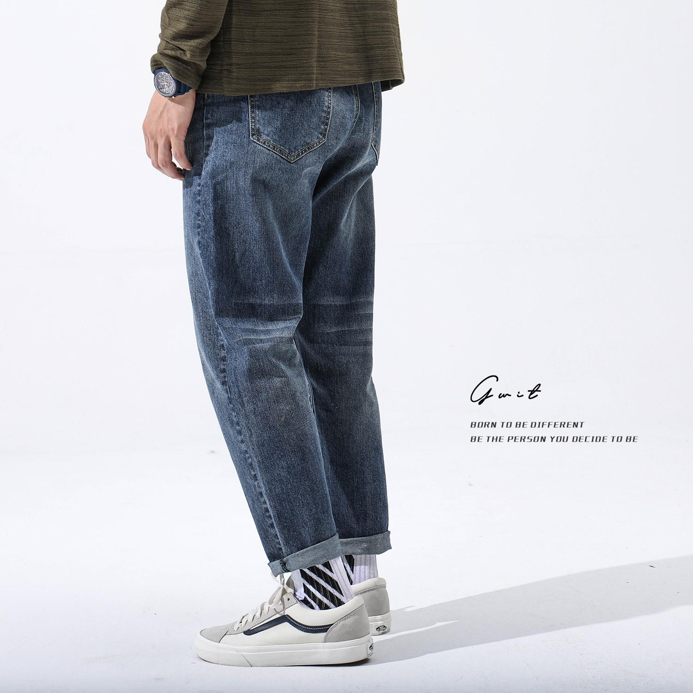 秋装新款直筒牛仔裤百搭日系长裤小脚宽松裤子男 2018 自制重磅 GWIT