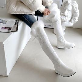 2019秋冬兔毛毛长筒靴加厚雪地靴过膝高筒长靴平底皮面白色女靴子