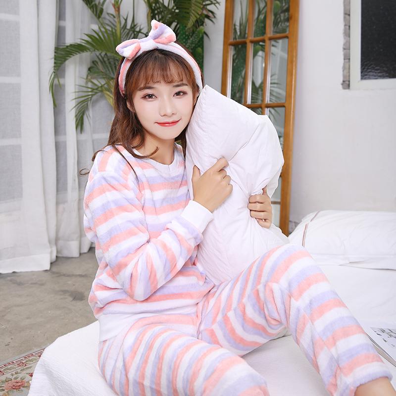 法兰绒睡衣女秋冬季长袖加厚保暖珊瑚绒韩版甜美可爱家居服套装