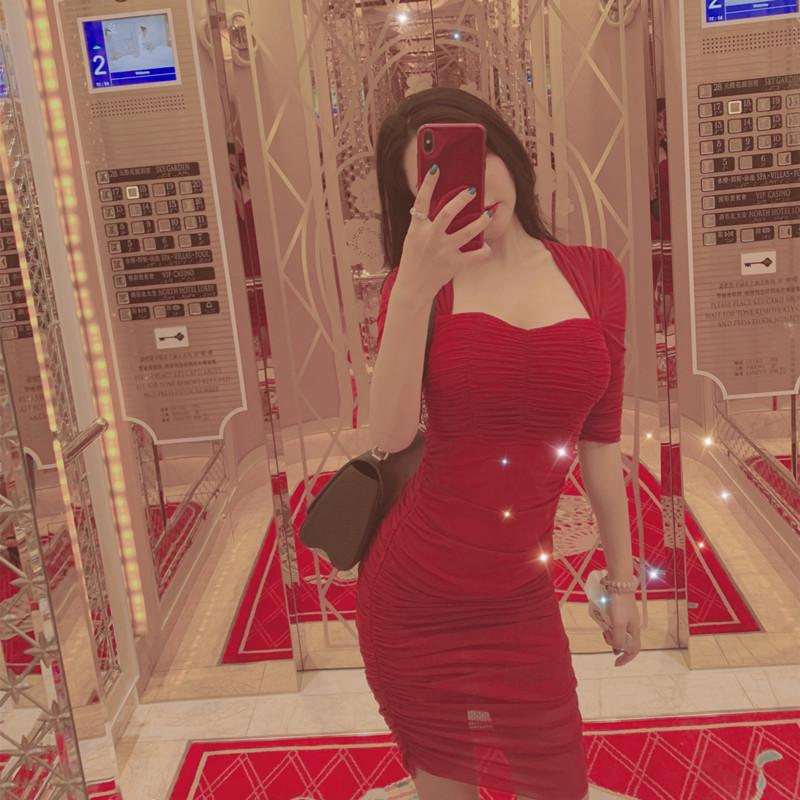柳岩李蒽熙网红抖音同款气质修身显胸收腰内搭露锁骨桔梗连衣裙