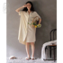 Nidia's new pajamas nightdress women's summer cotton cardigan long simple casual solid color can be worn outside home clothes