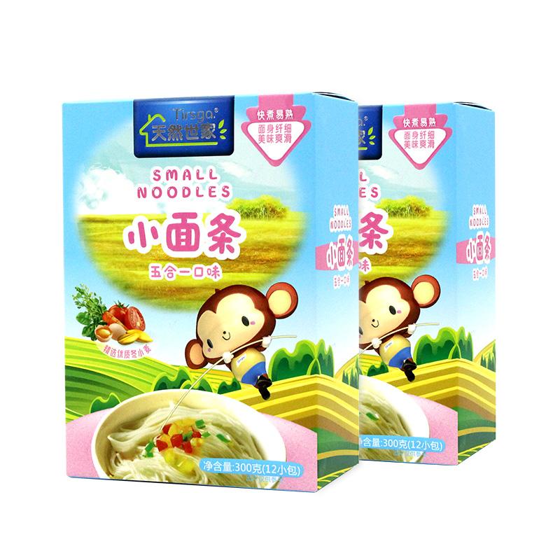 宝宝面条儿童蔬菜细面送婴儿辅食 盒五合一 2 300g 天然世家小面条