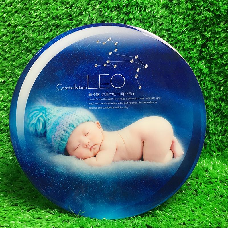 新款兒童嬰兒定製款十二星座3D立體大韓水晶照擺臺相框寶寶8寸
