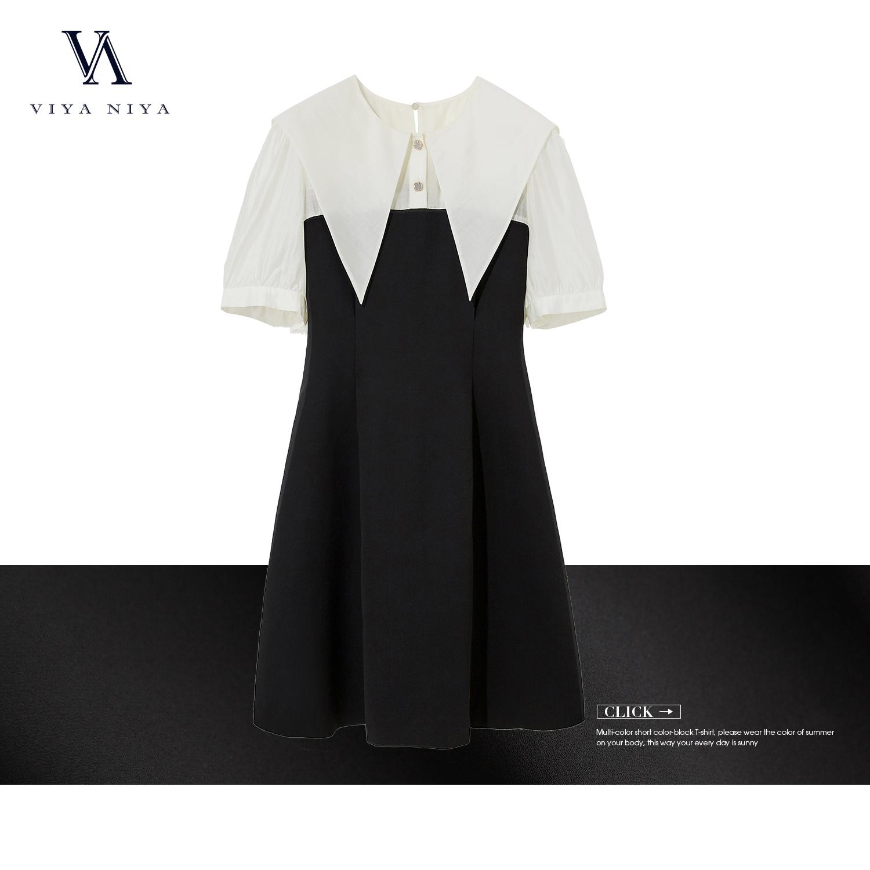 2020 XSS007367  夏季新品肩部通透轻盈娃娃领连衣裙
