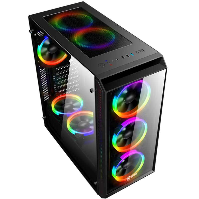 台式电脑玻璃主机机箱 USB3.0大侧透水冷机箱 背线atx游戏机箱