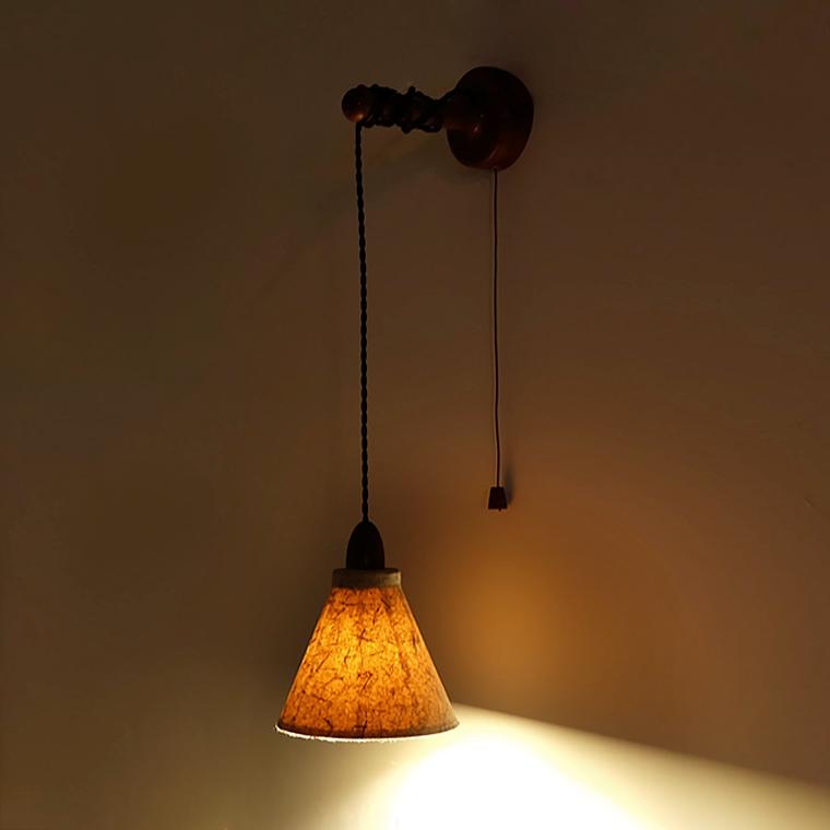 天发货 3 壁灯 开关 拉线 带 北欧 日式 壁灯 古纸 南灯记
