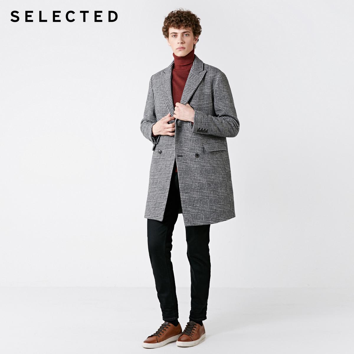 418427534 SELECTED  绫致 思莱德新男含羊毛格纹中长毛呢大衣外套