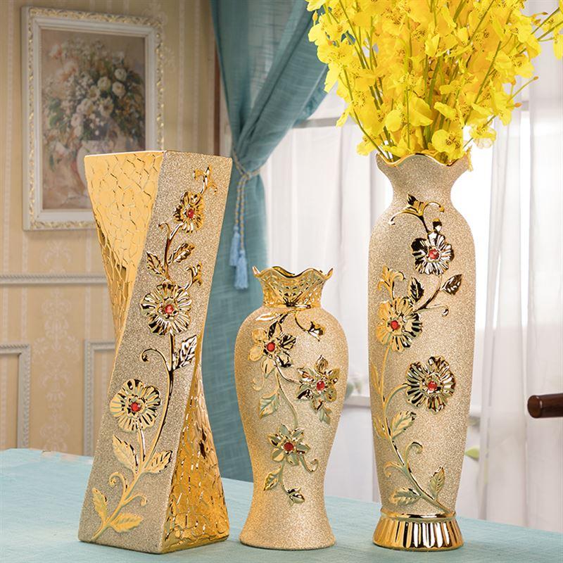 客厅房间电视柜装饰 插花干花欧式落地大花瓶 金色陶瓷花瓶可装水