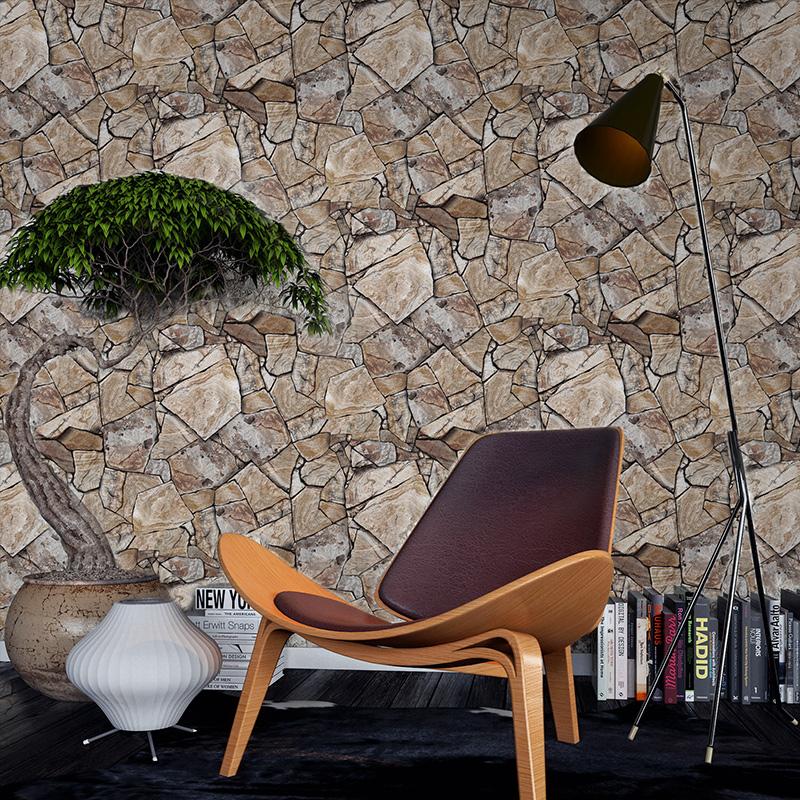 3d立体复古砖纹仿古大理石石头文化石壁纸砖块餐厅饭店美发店墙纸