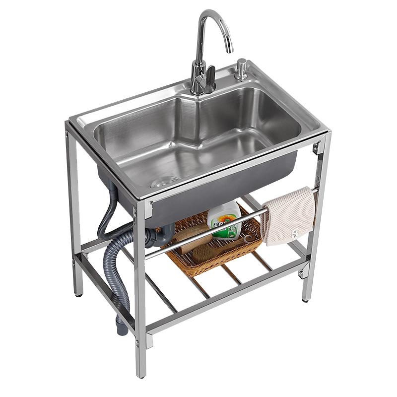 简易水池家用厨房不锈钢水槽带支架单槽洗手池双槽洗菜盆洗碗池子