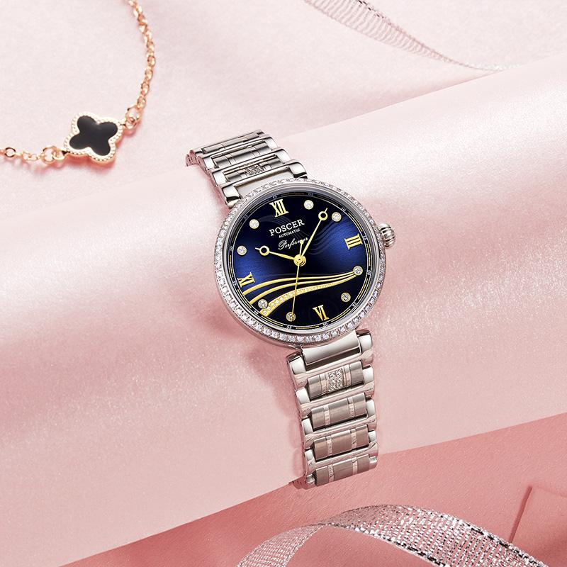 6609 宝时捷新品机械女表奢华时尚镶钻潮流钢带防水女士自动机械表