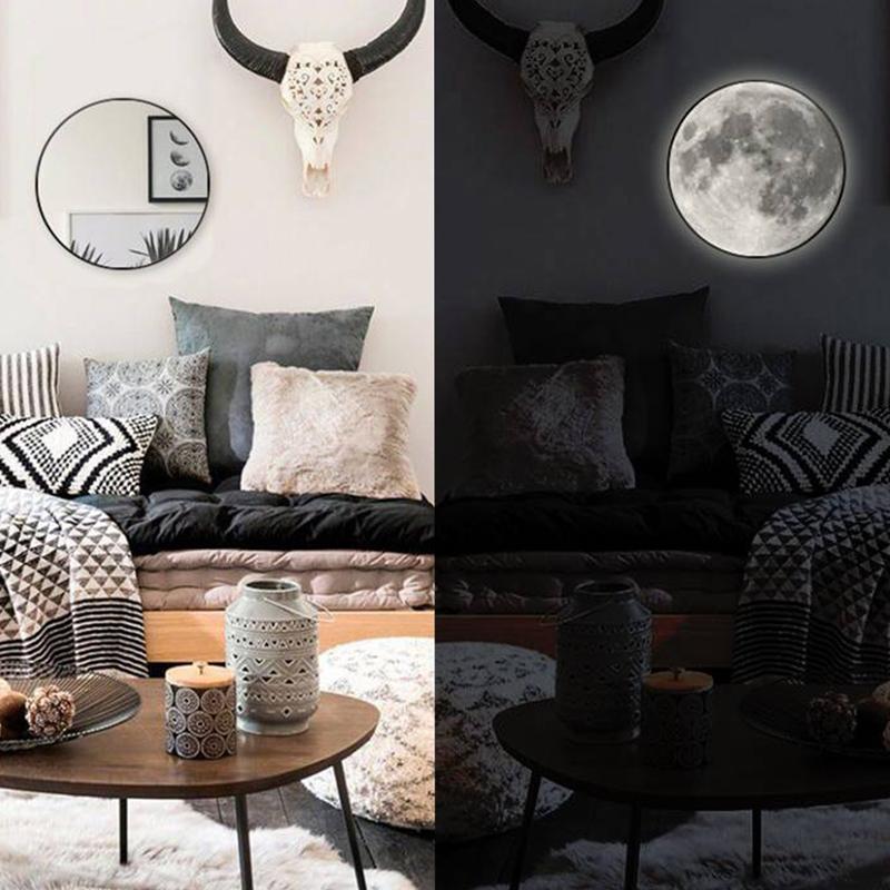 灯送女友 led 创意月亮镜化妆镜子客厅卧室氛围灯壁挂装饰网红同款