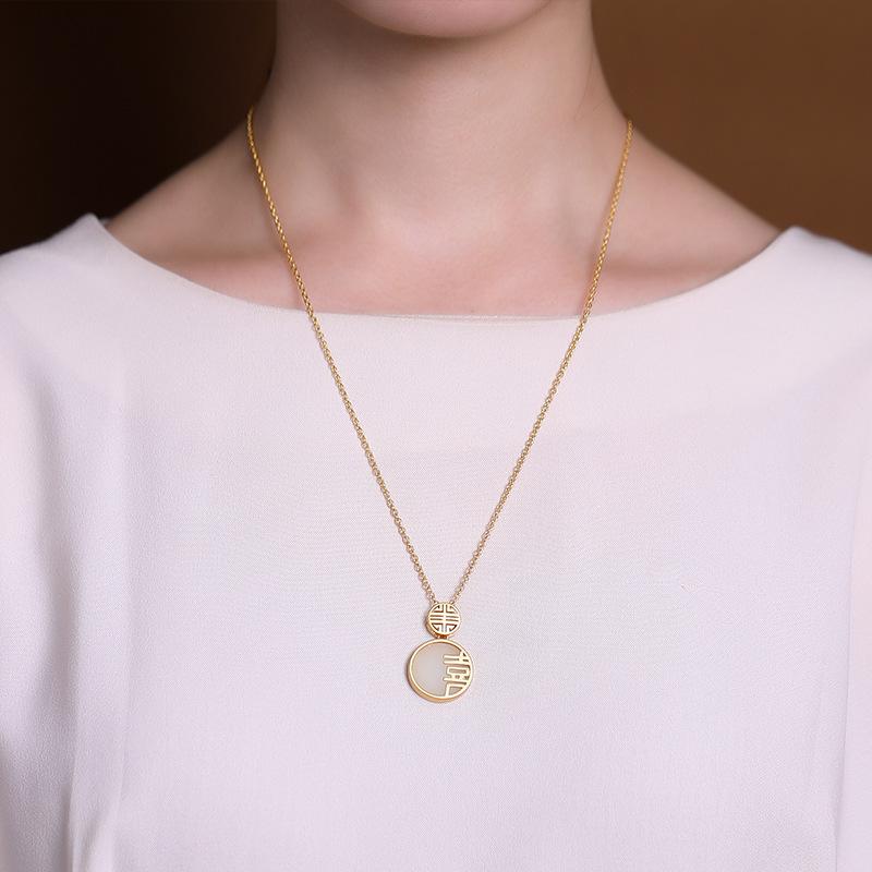 原创 纯银镀金和田玉白玉喜字中式古典古风平安扣银吊坠项链  S925