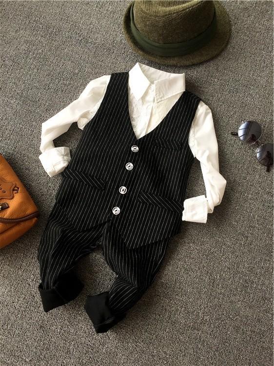 童装男童马甲套装2019春秋装韩版中小儿童西装套装宝宝礼服两件套