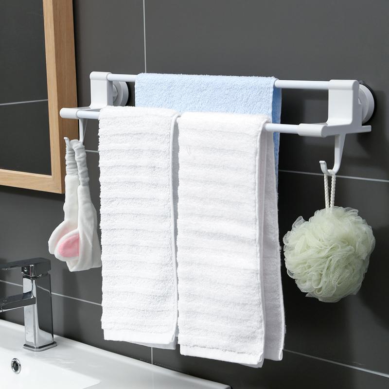 毛巾架免打孔卫生间毛巾杆浴巾架子吸盘式厕所浴室挂架毛巾置物架