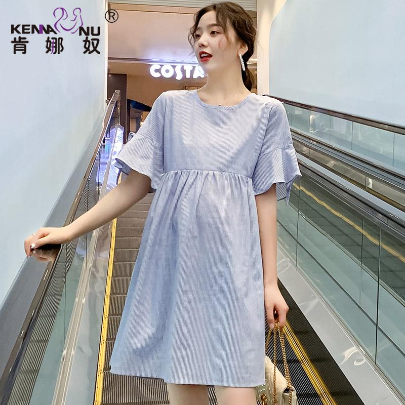 孕妇装夏天裙子条纹哺乳孕妇连衣裙夏季中长款短袖2019新款孕妇裙