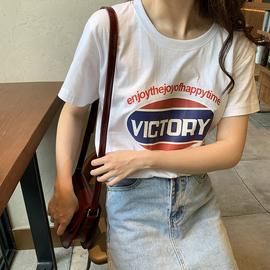 短袖T恤女2020夏季新款纯棉白色印花学生宽松韩版百搭打底衫上衣
