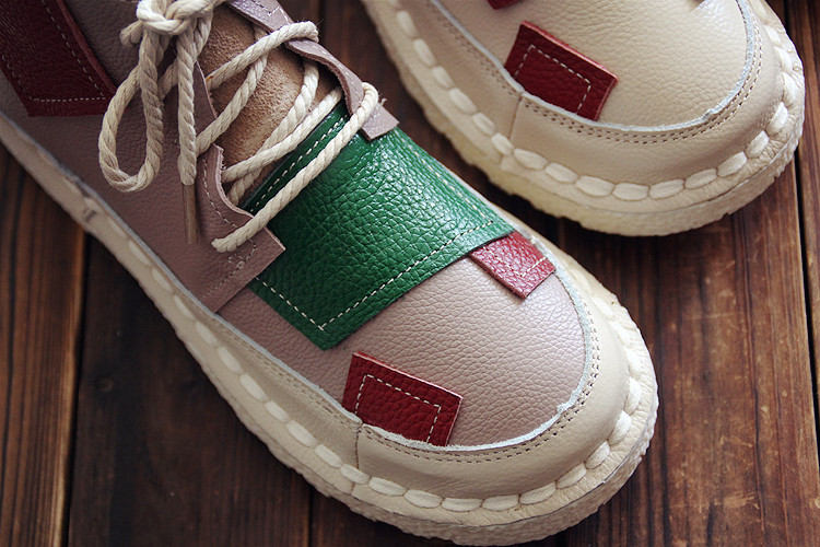 原创手工拼接色糖果色秋季短靴子及踝靴文艺复古森系真皮女鞋靴