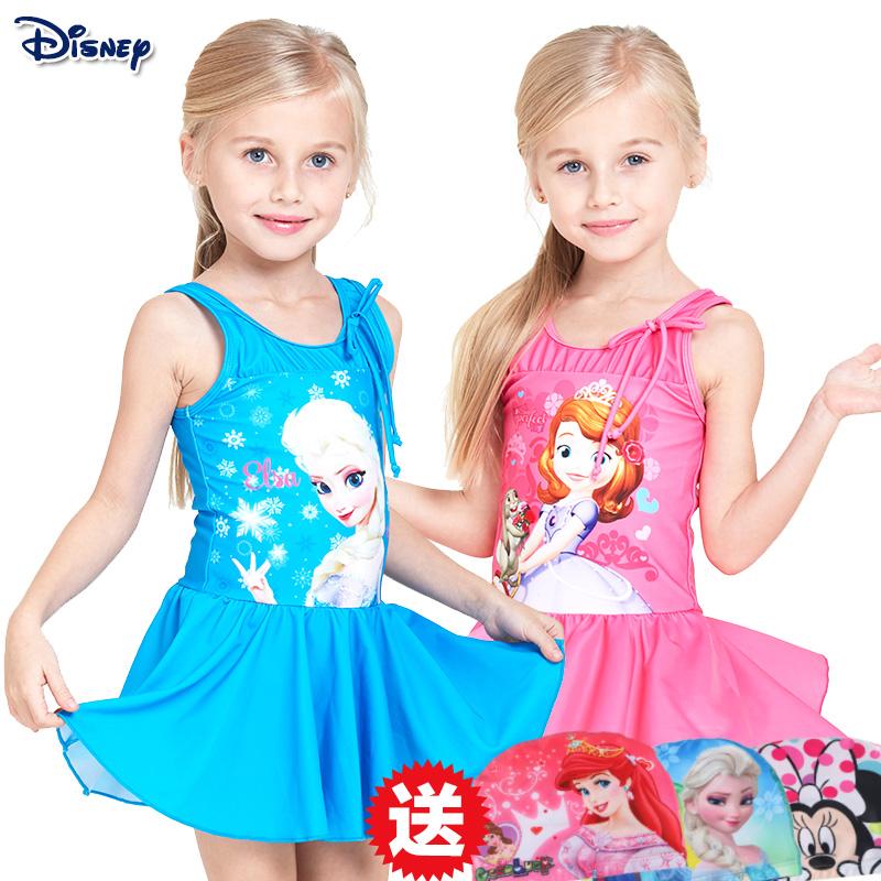 泳衣儿童女迪士尼公主可爱速干中大童裙式小孩连体女童游泳衣