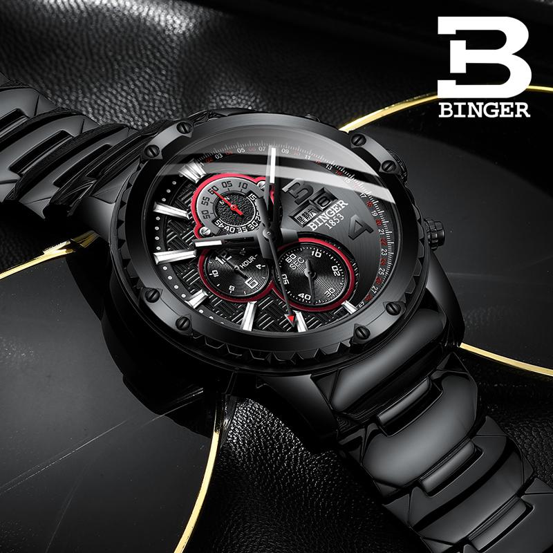 瑞士宾格手表三眼跑秒男表精钢防水运动男士进口机芯非机械表