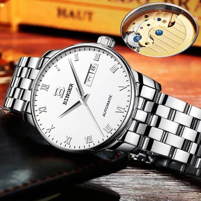 2019新款男士手表瑞士宾格手表全自动机械表表时尚防水男表
