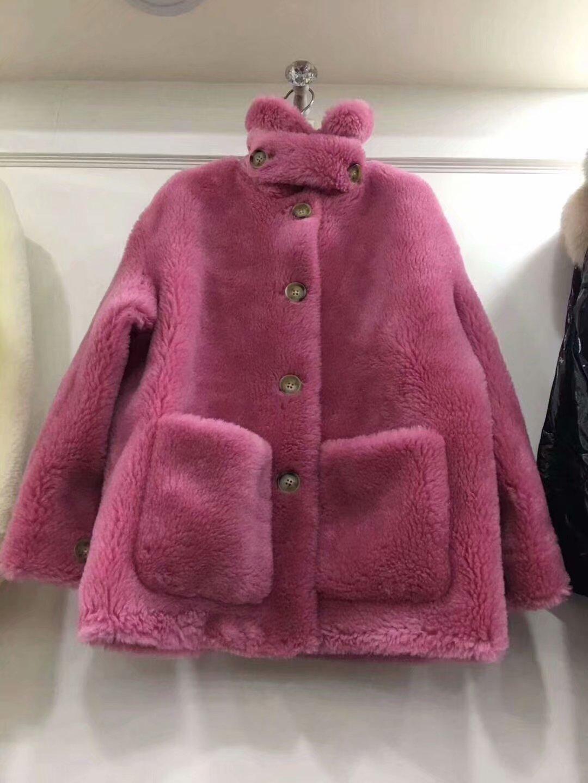 大颗粒羊毛大衣真毛外套复合皮毛一体安娜家同款女海宁皮草反季特