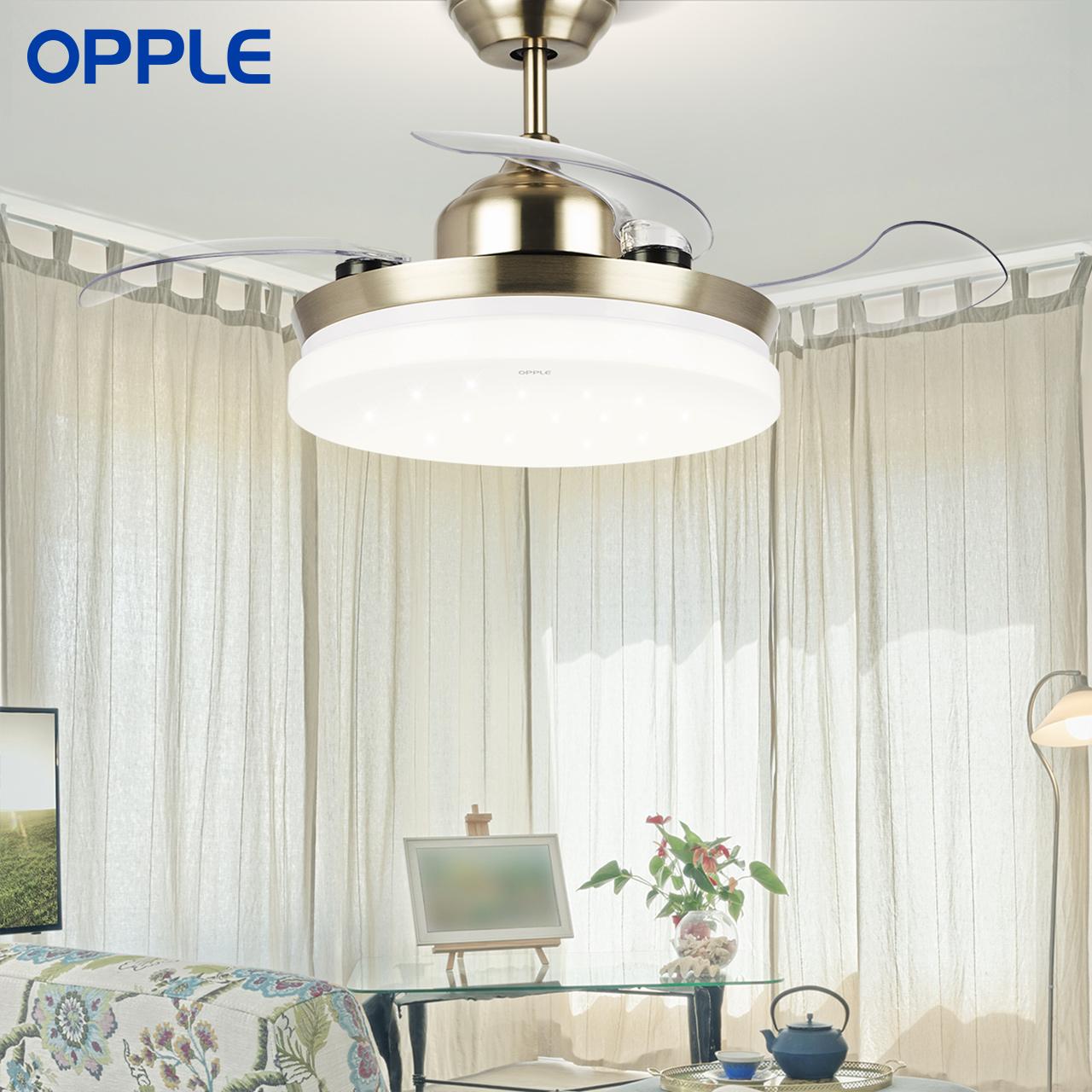 OPPLE 吊扇灯风扇灯客厅餐厅卧室家用简约现代LED风扇欧式吊灯D