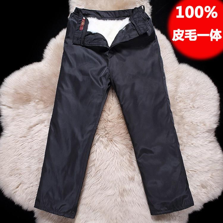冬季羊皮裤子男中老年皮毛一体羊毛裤加厚羊剪绒保暖骑车棉裤外穿