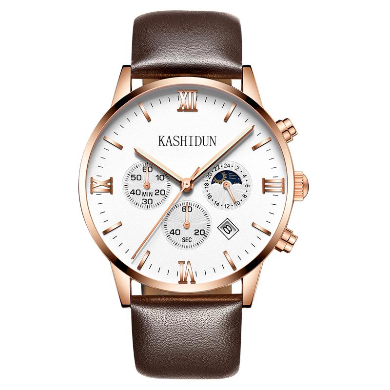 卡诗顿新款男表皮带手表防水男士商务腕表石英表日月星辰多功能表