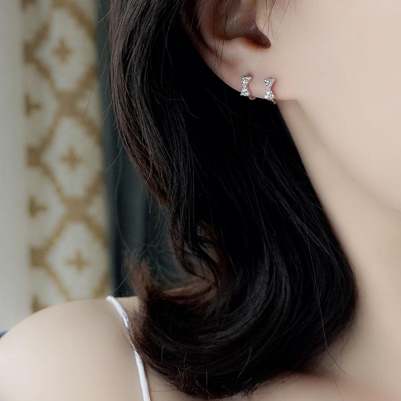 优品  纯银蝴蝶结耳扣女水钻耳圈气质耳环耳饰品睡觉不用摘 S925 小 Z