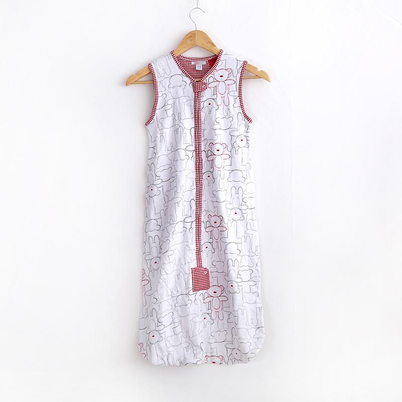 出口夏季婴幼儿睡袋纯棉宝宝背心式睡袋防踢被透气双层针织亲肤