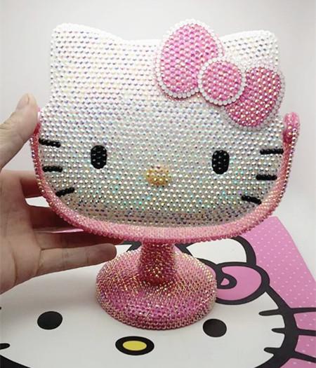 包郵Hello Kitty臺式鏡子DIY貼鑽果凍鑽kt貓化妝鏡KT隨身臺式鏡子