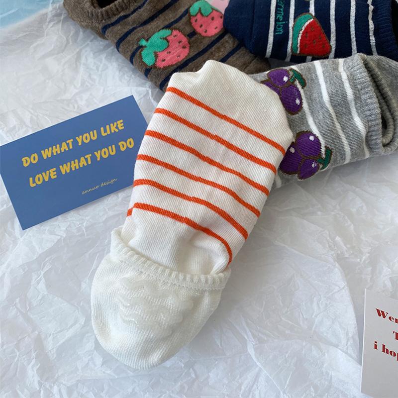 船袜女纯棉浅口硅胶防滑夏季薄款水果袜子女ins潮日系短筒隐形袜