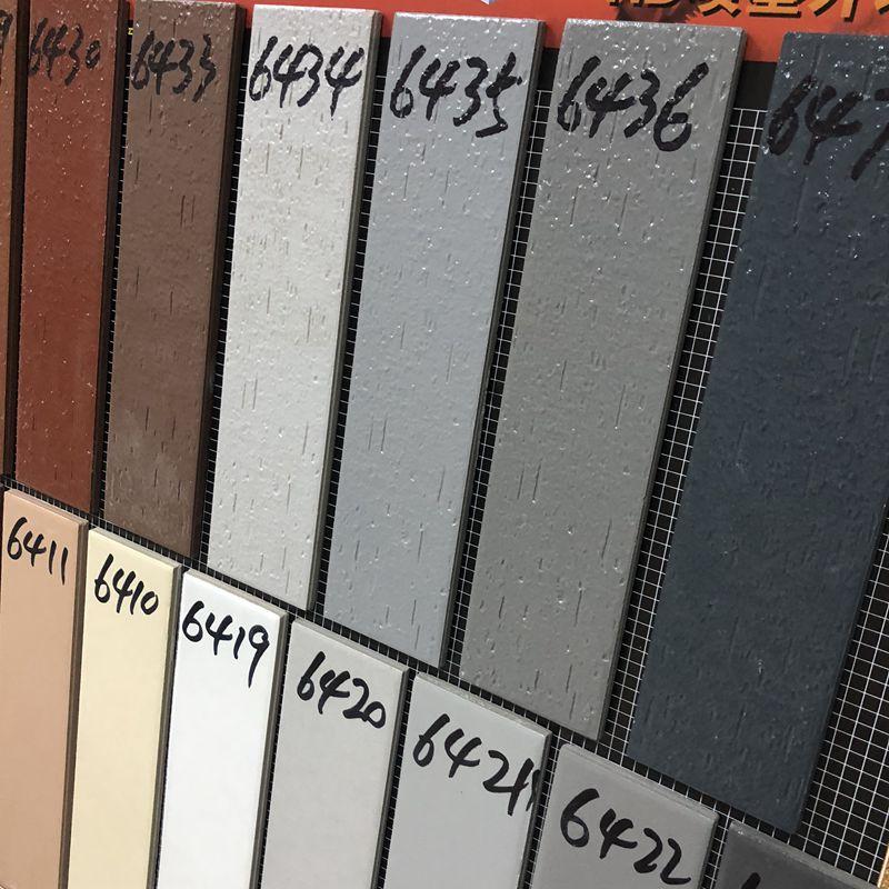 外墙瓷砖灰色全瓷外墙面砖6x24小条别墅阳台背景仿古耐磨抗冻条砖