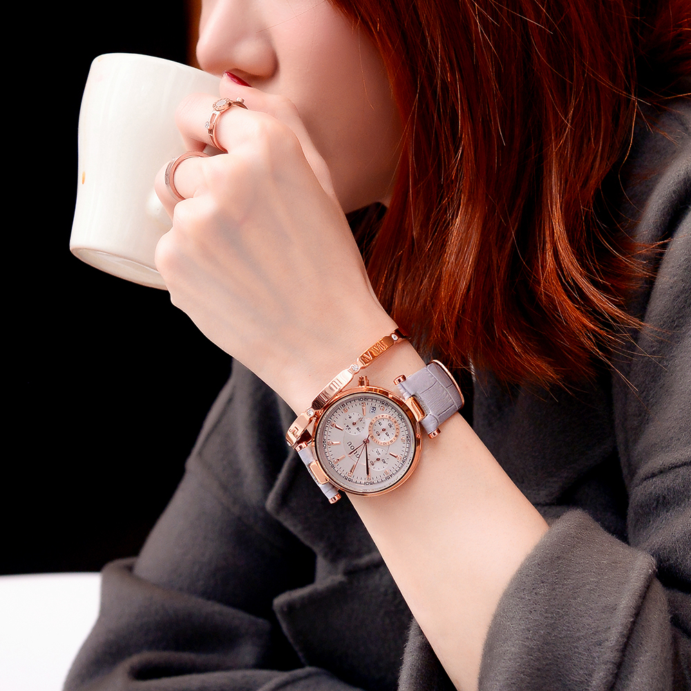 古欧韩版时尚个姓潮流大气手表女防水大表盘真皮带女士国产腕表