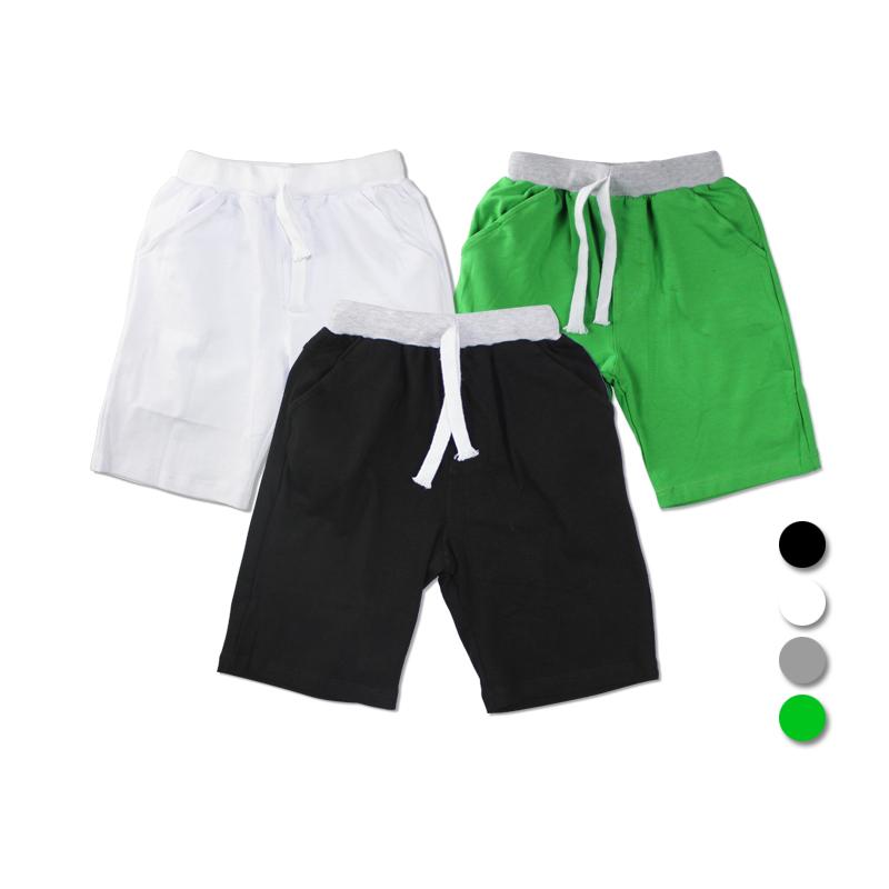 童裝男童男孩小孩子 中大童小童純棉兒童白色運動短褲黑色長褲子