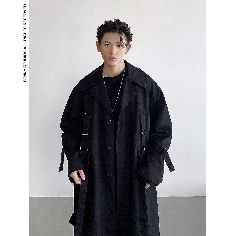 首席名模 自制山本暗黑色重工艺设计绑带宽松男女中长款风衣外套