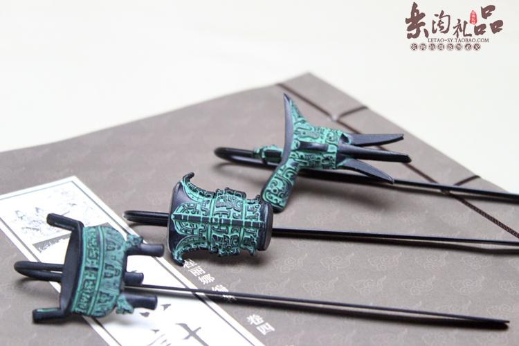中国风仿古青铜器爵杯书签 特色手工艺品 外事出国会议礼品送老外