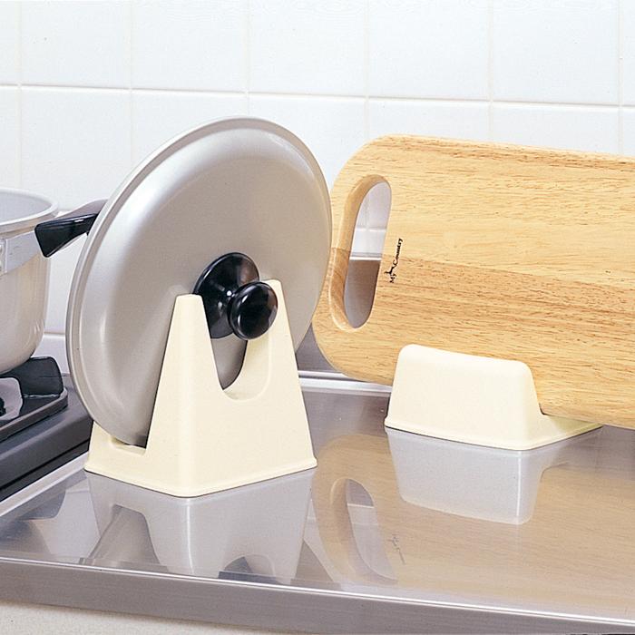 日本進口廚房收納用品多功能鍋蓋架砧板存放架刀架鍋蓋座菜板架