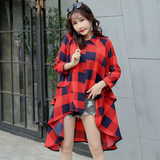 Retro Plaid Shirt Women's Society Loose Thin Skinny Korean Tide Baby Doll Shirt Top Short Short Back Long Design Sense