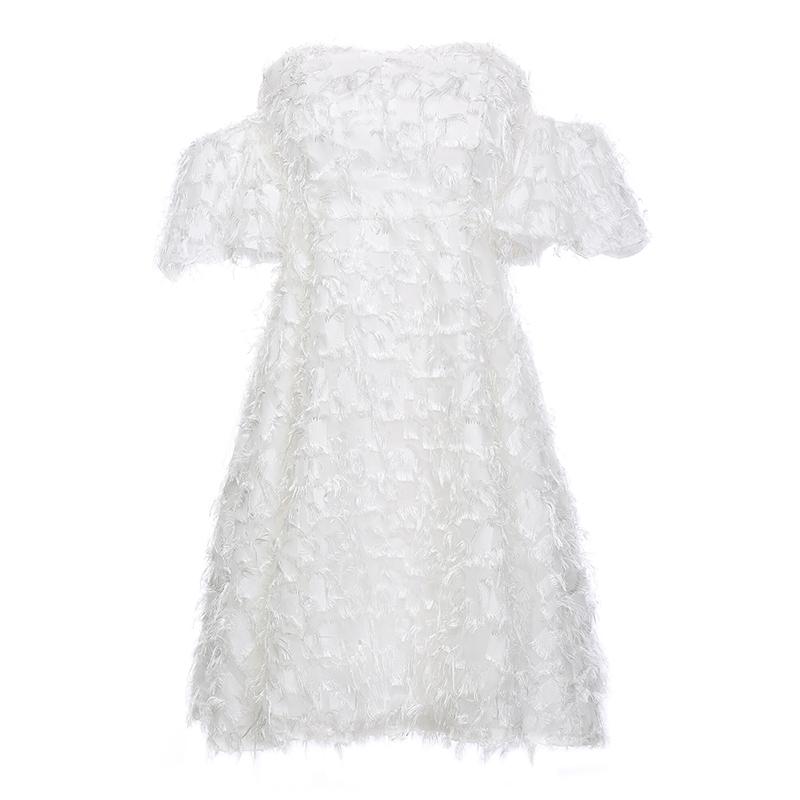 2019夏新款名媛聚会连衣裙生日短款白色一字肩性感伴娘洋装小礼服